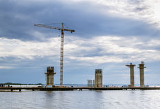 View of the construction of the ring road on Kanonersky island i Royalty Free Stock Photos