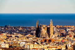 View of the construction Sagrada Familia and over the sea of houses in Barcelona. With approx. 1.6 million inhabitants, Barcelona Royalty Free Stock Photography