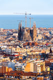 View of the construction Sagrada Familia and over the sea of houses in Barcelona. With approx. 1.6 million inhabitants, Barcelona Stock Images