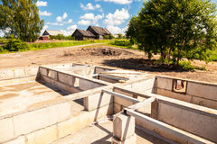 View of construction site and house foundation stock photos
