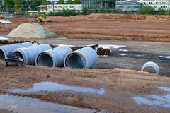 View on the construction site near the railway station in Heidelberg: earthwork and roadworks. Heidelberg, Germany - October 3 201. 7 Stock Image