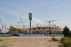 View of the construction site of the stadium Stock Image