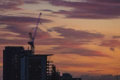 View of construction site on sunset stock photography