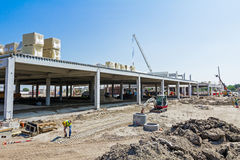 View on construction site, unfinished modern mega market. Archit Royalty Free Stock Images