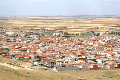 Aerial photo of Consuegra in La Mancha,Spain. View at the village Consuegra in Castilla La Mancha, the region of Don Quichot, Spain Royalty Free Stock Photo