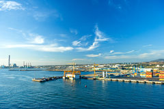 View of container port with beautiful blue sky Stock Image