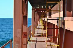Container ship deck passage ways. royalty free stock photos