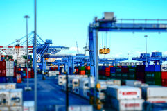 View of a container terminal at the port of Genoa effect model. royalty free stock images