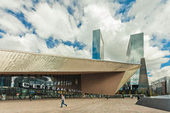 View at the contemporary entrance of the Rotterdam Stock Photos
