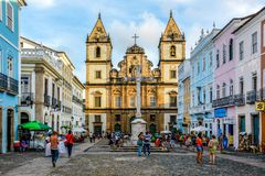 View of the Convent and Church of São Francisco in the historic area of Pelourinho. Salvador, Bahia, Brazil royalty free stock images