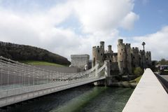 View of Conwy Castle. Battlements and the river North Wales UK Stock Photos