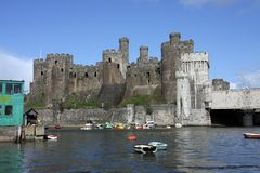 View of Conwy Castle. Battlements and the river North Wales UK Royalty Free Stock Image
