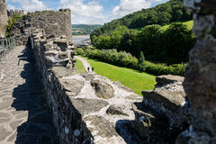 View on Conwy Castle and the Conwy bay place from the medieval w Royalty Free Stock Photo