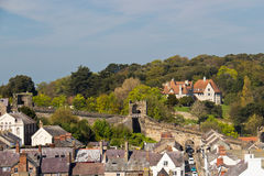 View of Conwy, Wales with its distinctive protective wall Royalty Free Stock Images