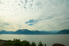Looking over Turnagain Arm. A view of Cook Inlet near Anchorage, Alaska Royalty Free Stock Photography