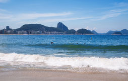 View of Copacabana beach and Sugar Loaf in Rio de Janeiro Stock Image