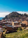 View of Copacabana and the monte del Calvario in lake Titicaca royalty free stock photo