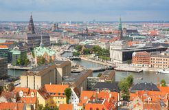 View of Copenhagen from Vor Frelsers Kirke Stock Images