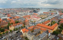 View of Copenhagen from Vor Frelsers Kirke Royalty Free Stock Photo