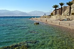 View on coral beach near Eilat, Israel Stock Images