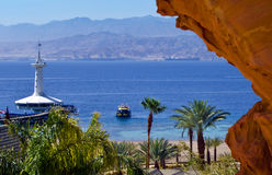 View on coral reef and underwater observatory at southern beach of Eilat Stock Images