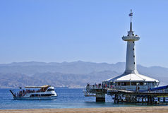 View on coral reef and underwater observatory at southern beach of Eilat Royalty Free Stock Photo