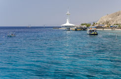 View on coral reefs and underwater observatory near Eilat Royalty Free Stock Image