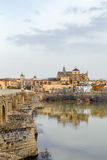 View of Cordoba with Mosque Cathedral, Spain. View of Cordoba with Mosque Cathedral from Guadalquivir river, Spain stock photo