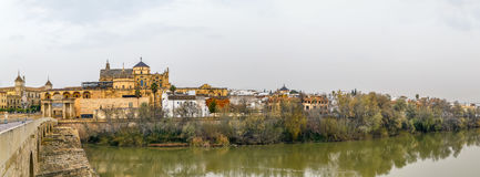 View of Cordoba with Mosque Cathedral, Spain. Panoramic view of Cordoba with Mosque Cathedral from Guadalquivir river, Spain stock photo