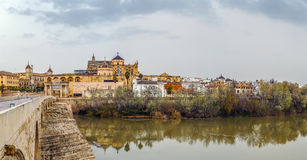 View of Cordoba with Mosque Cathedral, Spain. Panoramic view of Cordoba with Mosque Cathedral from Guadalquivir river, Spain royalty free stock photos