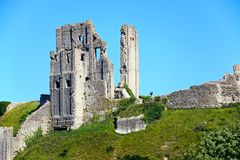 View of Corfe castle on the hilltop, Corfe. Royalty Free Stock Photo