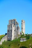 View of Corfe castle on the hilltop, Corfe. Royalty Free Stock Image