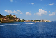 View on Corfu,Greece. View on Corfu from the sea,with the blue cloudy sky Stock Photography