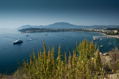 View of Corfu harbour. A view of Corfu harbour with blue sea and sky royalty free stock photo