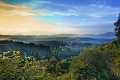 View of Corfu island from the mountains Royalty Free Stock Images