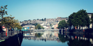 View on the Cork city - vintage effect. Early morning in Ireland. Royalty Free Stock Image