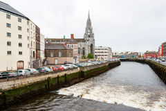 View of Cork, Ireland. Holy Trinity church and Lee river in Cork. Republic of Ireland Royalty Free Stock Images