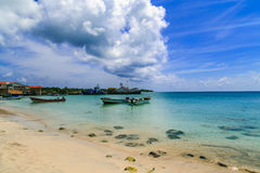 View of corn island Nicaragua. sea with boats and blue sky Royalty Free Stock Photography