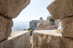 View of the corner tower from the destroyed loophole of the round tower in Nimrod Fortress located in Upper Galilee in northern Is. Rael on the border with royalty free stock image