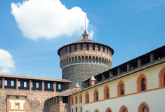 View of Corner tower from yard of Sforza Castle, Milan, Italy Stock Photos