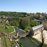 View from the Corniche. Luxembourg. Picture taken from the Corniche. The financial place. One of the main tourist attractions in Luxembourg city. Luxembourg Stock Image