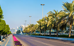 View of Corniche Road in Abu Dhabi Stock Photography