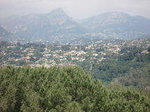 View on the Corniche of the Var from Saint Paul de. Vence in the south of France in summer Royalty Free Stock Photography