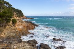 View of Costa Brava from Cami de Ronda. View of Costa Brava from `Cami de Ronda` a coastal path near the sea, Catalonia stock photography
