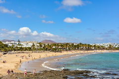 View of Costa Teguise beach, a touristic resort on Lanzarote island Royalty Free Stock Photo