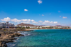 View of Costa Teguise, a touristic resort on Lanzarote island stock photography
