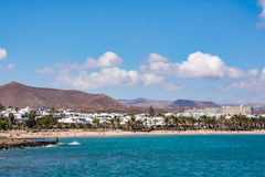 View of Costa Teguise, a touristic resort on Lanzarote island royalty free stock images