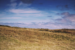 View from the costal path near Polzeath Vintage Retro Filter. Royalty Free Stock Photos