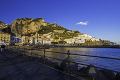 A view of costiera amalfitana. Amalfi harbour, with the town in background Royalty Free Stock Photo