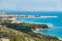 View of the costline Costa Dorada, Spain, sandy beaches,  landsc. Perspective view of the costline Costa Dorada, Tarragona, Spain, sandy beaches, landscape Royalty Free Stock Photo
